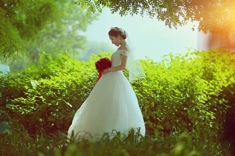 Wedding Bride Wedding Dress Bridegroom Love Life Events Women Groom Young Women Young Adult Celebration Married Wife Wedding Ceremony Celebration Event Standing Togetherness Couple - Relationship Real People Nature