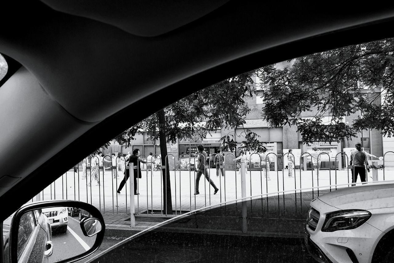 People In Park Seen Through From Car