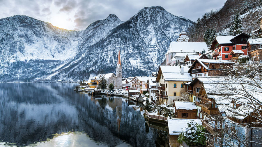 Winter View Of Hallstatt , Hallstatt , Austria Architecture Beauty In Nature Building Exterior Built Structure Cold Temperature Day House Mountain Mountain Range Nature No People Outdoors Residential Building Residential District Residential Structure Scenics Sky Snow Town Tranquil Scene Tranquility Water Waterfront Winter