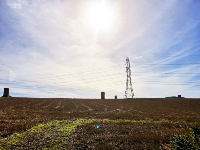 Giant Haystack from Brantingham Sunny Electricity Pylon Power Line  Landscape Sky Sun First Eyeem Photo