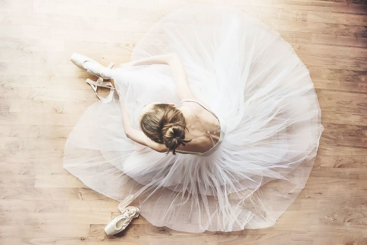 EyeEm Selects White Color High Angle View One Person Young Adult Eyes Closed  Ballet Dancer Ballet Indoors  Skill  Full Length Performance Young Women Day People Ballet Shoes Ballerina