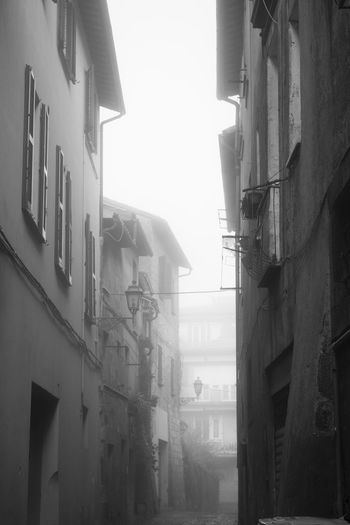 Architecture Fog Low Angle View No People City Old Town Window Cold Temperature Blackandwhite