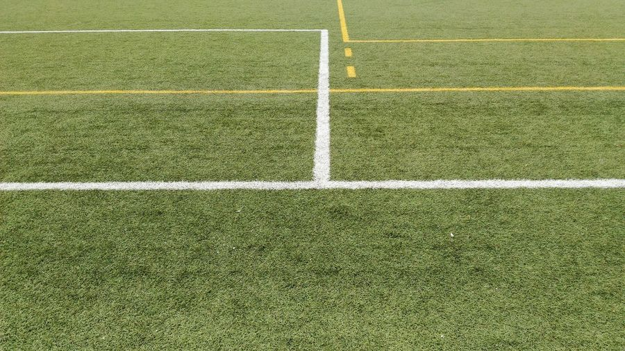 High angle view of markings on soccer field