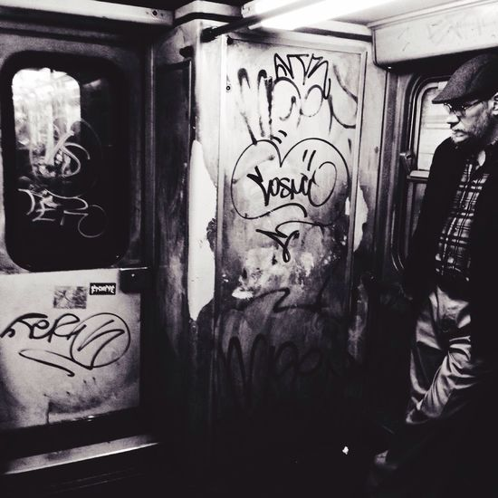 Black & White Tube EyeEmBestPics Signs Real People One Person Trash Urban Urban Scene Adults Only Adult Writers Writingcommunity Writer Mood Train Old Man Tadda Community