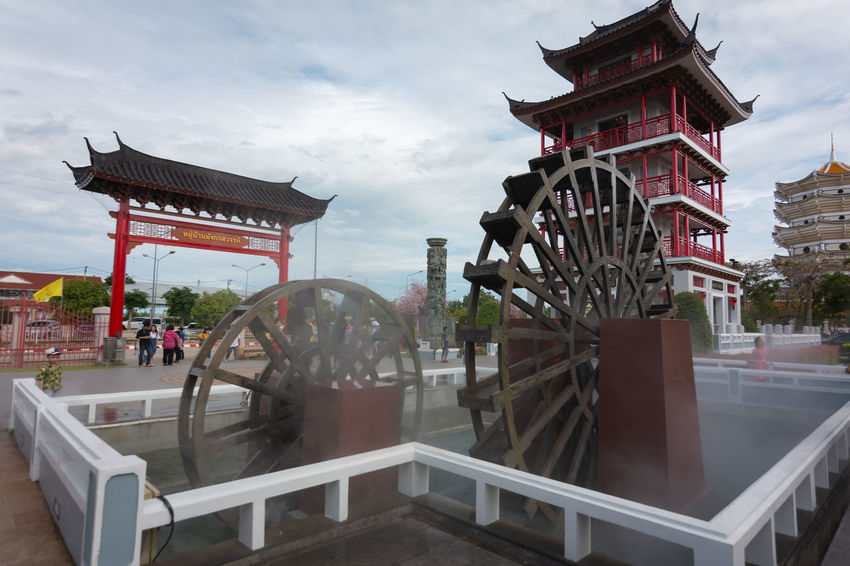 Dragon Descendants Museum or Heavenly Dragon Park in Suphaburi at Thailand. Dragon Heavenly Holiday Thai Thailand Tourist Travel Traveling Vacations Water Turbine Wheel Wood Attraction Park China Descendants Landmark Location Museum Park Session Tourism Turbine Water Water Vane Wooden