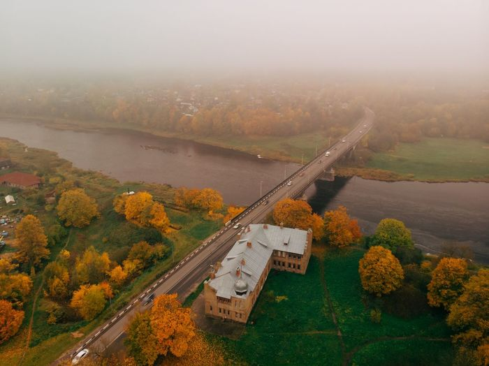 Fog Plant Nature Beauty In Nature Autumn Water Environment Change Outdoors Architecture Land Tree High Angle View No People Landscape Autumn Mood