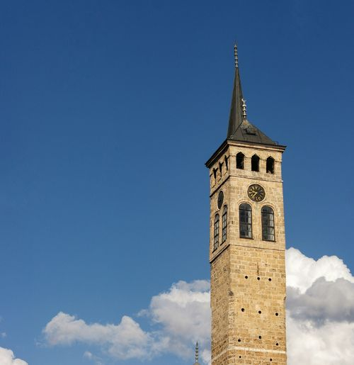 Architecture Bascarsija Blue Built Structure Clock Tower Day High Section Low Angle View No People Outdoors Part Of Sky Tall Tall - High Tourism Tower Travel Destinations