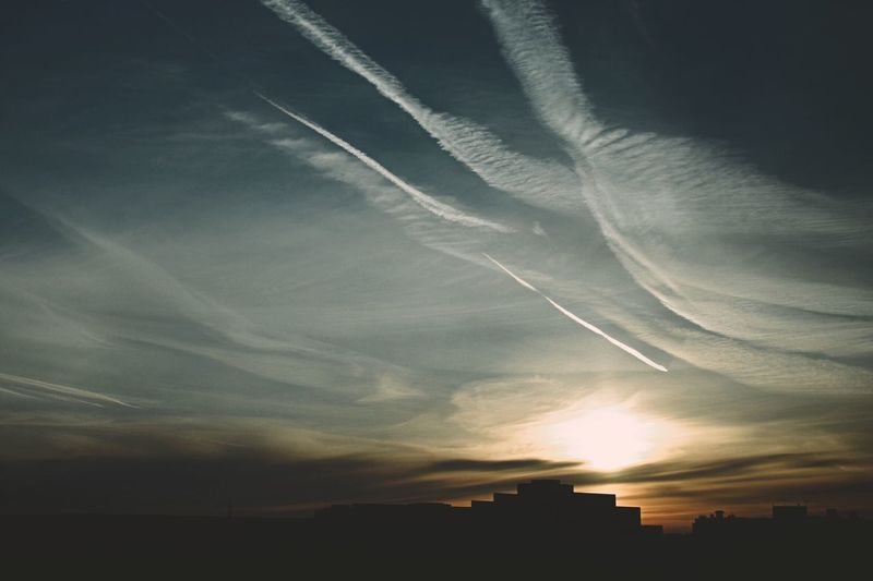 Sky No People Nature Silhouette Sunset Outdoors Beauty In Nature Scenics Vapor Trail Day