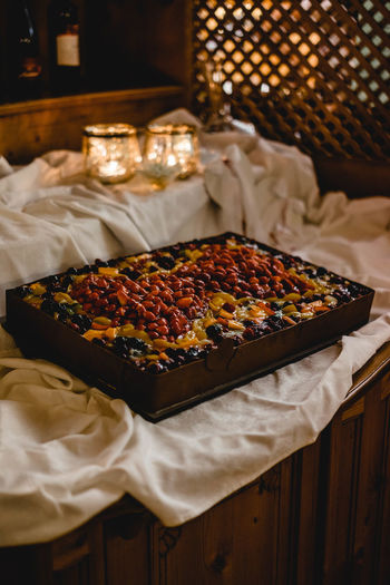 Fruit cake Food And Drink Food Freshness Table Indoors  No People Ready-to-eat High Angle View Focus On Foreground Sweet Food Snack Baked Wellbeing Healthy Eating Wedding Wedding Photography Wedding Day Boho Boho Wedding Retro Retro Styled Temptation