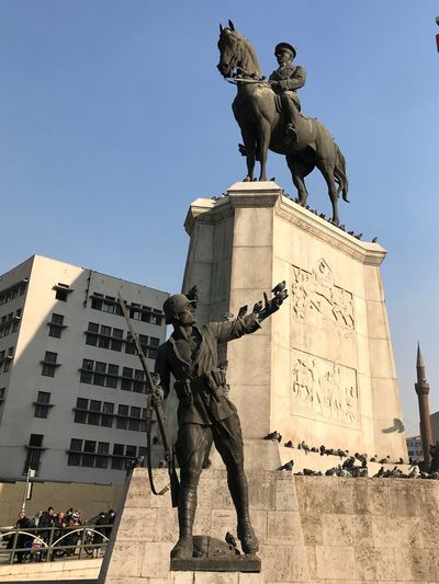 Atatürk Atatürk Statue Sculpture Art And Craft Human Representation Horse Male Likeness Monument Horseback Riding Architecture Built Structure Low Angle View History Outdoors Memorial Day Building Exterior City Clear Sky King - Royal Person Travel Destinations EyeEm Ready