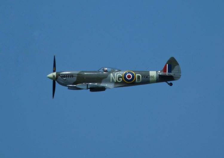 Spitfire Ww2 Airplane Air Vehicle Blue Sky Mode Of Transportation Clear Sky Transportation Military Fighter Plane