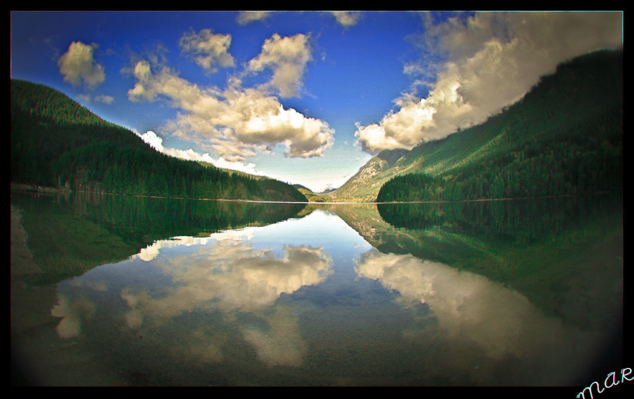 cloud - sky, sky, reflection, tranquil scene, tranquility, transfer print, auto post production filter, beauty in nature, lake, scenics - nature, water, nature, symmetry, day, no people, waterfront, idyllic, outdoors, landscape