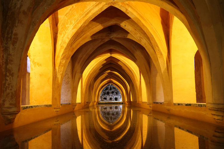 Underground baths of Real Alcazar de Seville Arch Architecture Built Structure The Past History Indoors  No People Building Architectural Column Arcade Ancient Day Old Abbey Architectural Feature Reflection Water Travel Destinations Ceiling Gothic Style Alcazar De Seville Real Alcazar Bath Spa