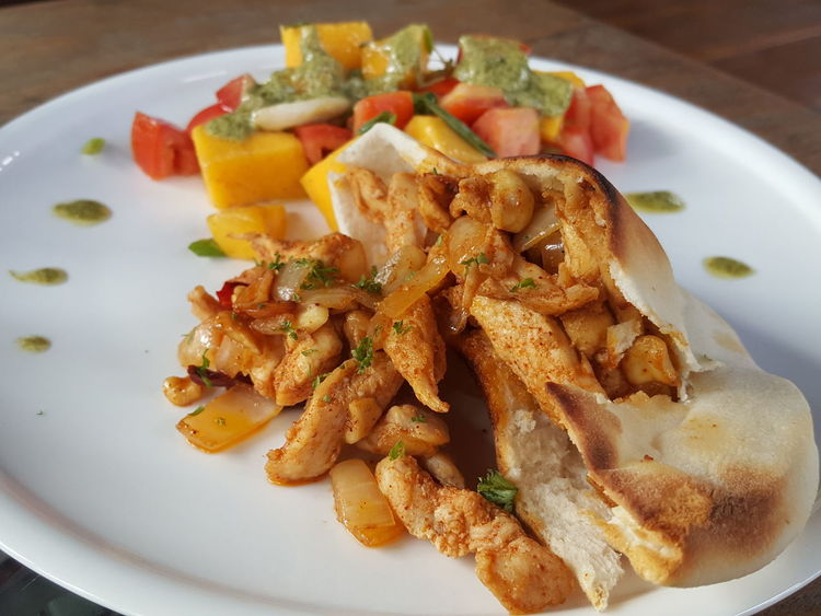 Plate Food Ready-to-eat Close-up Healthy Eating Multi Colored Spicy Chicken Sandwich Pita Bread Comfort Food Home Recipes Mango Salad Food State
