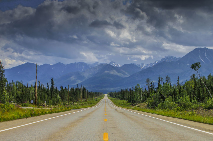 Alaskan Nature Alaska Cloud - Sky Day Mountain Nature No People Outdoors Road Scenics Sky The Way Forward Tranquil Scene Transportation Tree