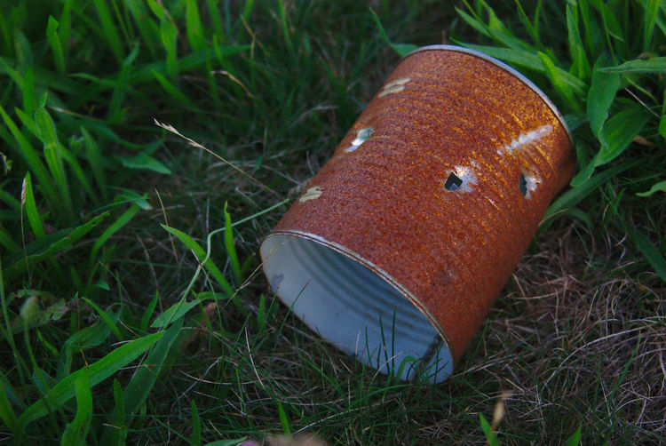 Rusty can with