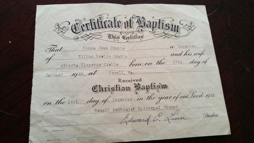 Old Baptism Certificate 1920s
