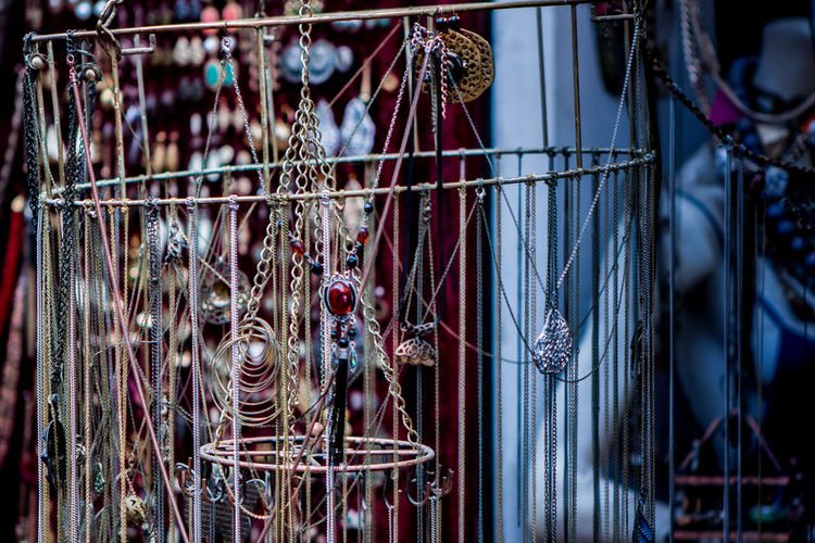 Close-up of jewelries for sale in store