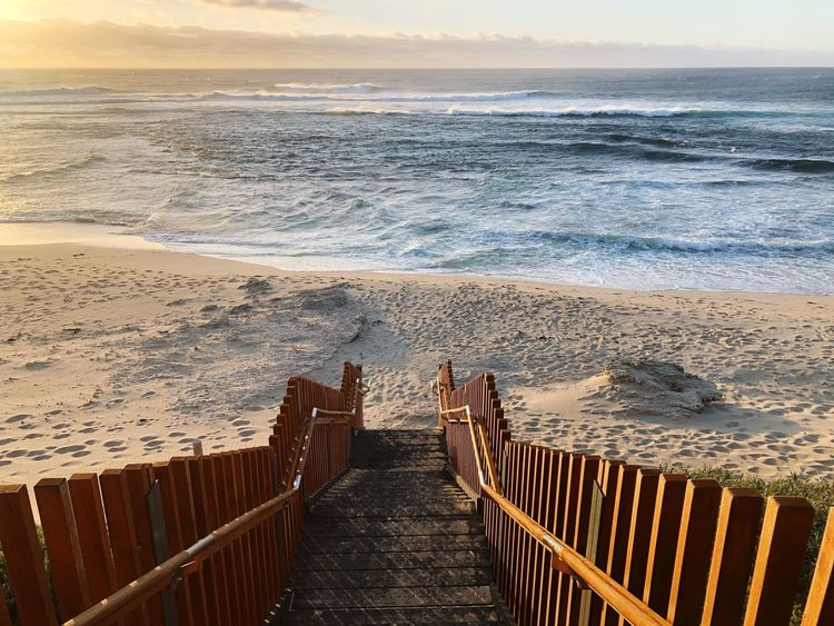 off to the beach Steps Peaceful Sunset Margaret River Region Australia Western Australia Beach Sea Land Water Sky Beauty In Nature Horizon Over Water Nature Tranquil Scene Idyllic Sunlight Tranquility