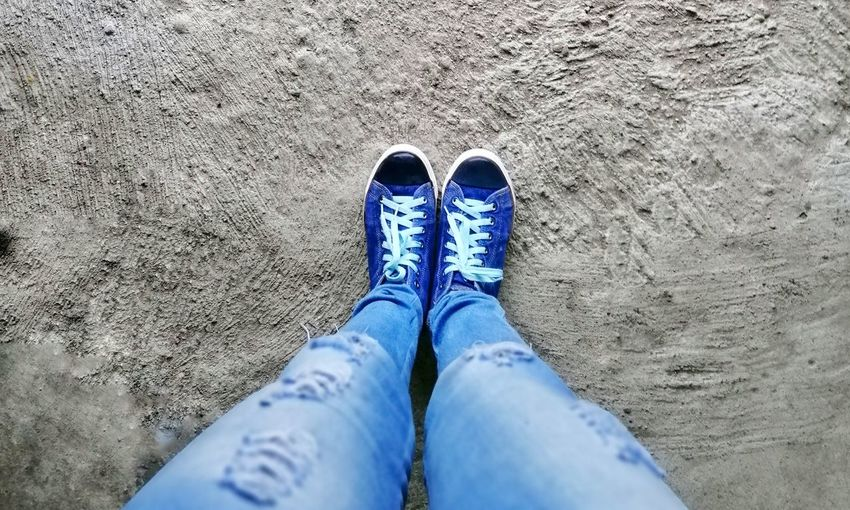 Step by step #denim #jeans Low Section Standing Sand Human Leg Shoe High Angle View Blue Personal Perspective Footwear Stone Tile