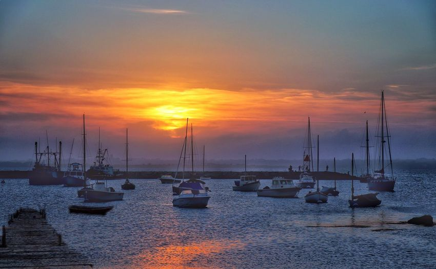 Sunset Sky Water Nautical Vessel Transportation Scenics - Nature Mode Of Transportation Cloud - Sky No People Sea Tranquil Scene Nature Sailboat Moored Idyllic Pole Tranquility Outdoors Orange Color Beauty In Nature