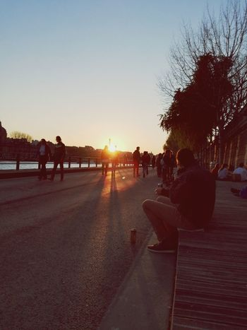 Sunset Sky Outdoors People Silhouette Day Paris, France  Tour Eiffel Scenics City Travel Destinations Architecture Tree Adults Only Only Men Adult Nature