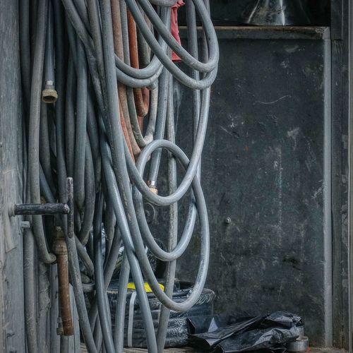 Open door of a utility truck Industrial Hose Grimey