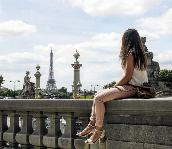 Tourism Travel Destinations Vacations Built Structure Architecture Summer Paris Eiffel Tower Traveler Young Adult Adult Only Women Adults Only Travel Young Women Long Hair One Young Woman Only One Woman Only One Person Cultures People Women Outdoors First Eyeem Photo