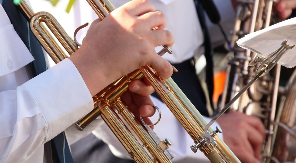 Cropped Image Of Musician Playing Trumpet