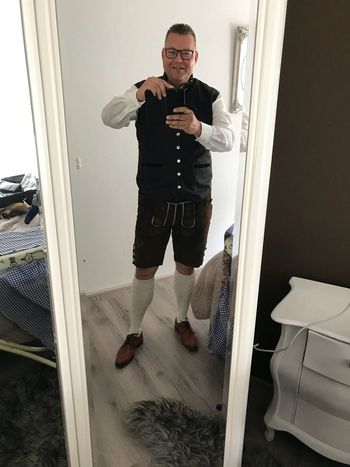 This is how we are going to party next week. Lederhosen Gäubodenfest Straubing Straubing One Person Full Length Indoors  Real People Window Wireless Technology Standing Men Casual Clothing