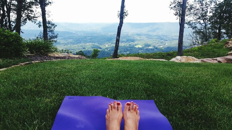 Yoga with a view Chattanooga Tennessee Healthy Lifestyle Exercise Yoga Outdoor Yoga Views Mountains Personal Perspective Human Body Part Human Foot One Person Barefoot Grass High Angle View Day Nature Adults Only Green Color Relaxation Real People Leisure Activity Outdoors Toes Love Yourself