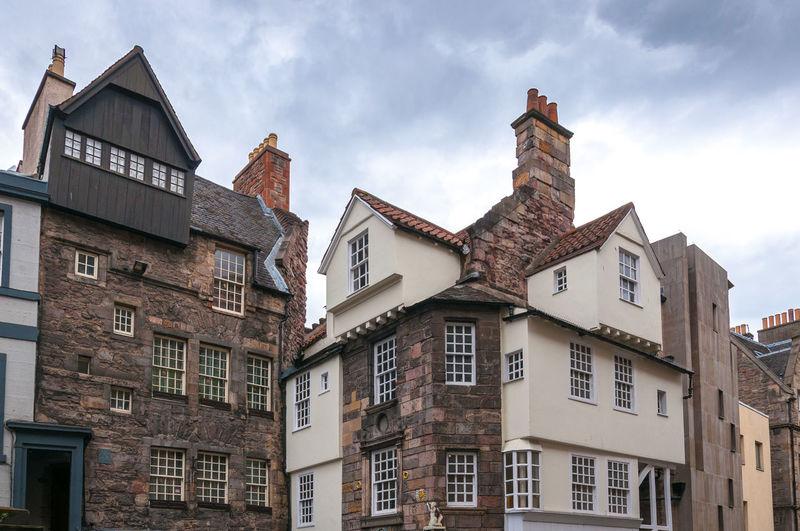 Example of traditional scottish houses on an edinburgh street