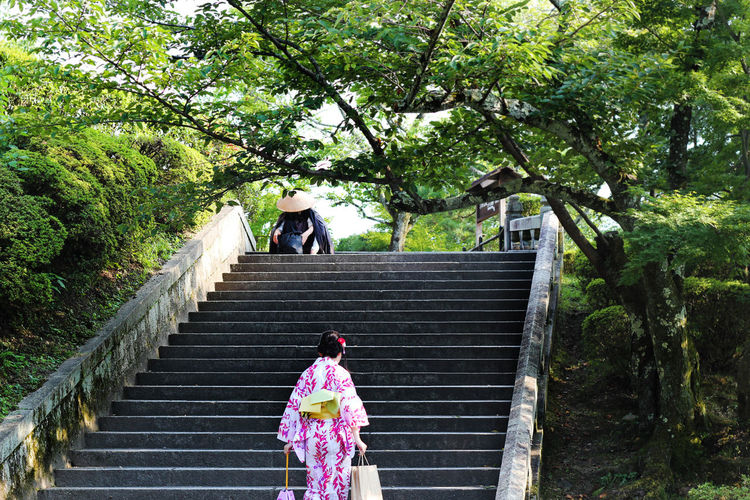 Rear View Of Japanese Woman Walking On Steps In Park