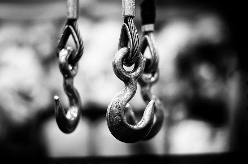 Close-up of metal hanging