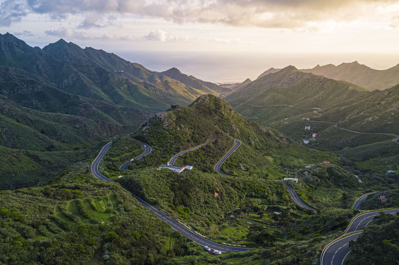 Aerial view of road amidst mountains against sky