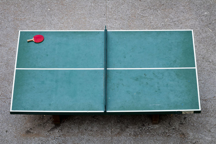 High angle view of table tennis table on street