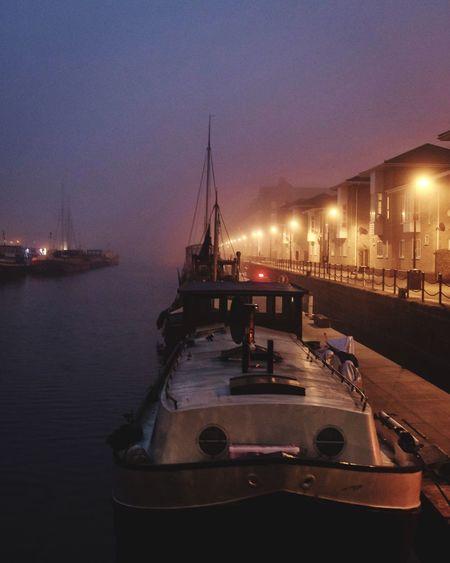 Foggy London. Nautical Vessel Transportation Water Fog Foggy Twilight Blue Hour Urban City Life Urbanphotography London