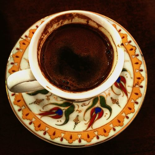 Turkish coffee Coffee Cup Coffee - Drink Food And Drink Drink Refreshment No People Saucer Close-up Indoors  Table Freshness Food Frothy Drink Day Antique Glass Gold Colored Black Coffee Solitary Moments Serene Refreshment Escape From Reality Visual Feast EyeEmNewHere Mix Yourself A Good Time