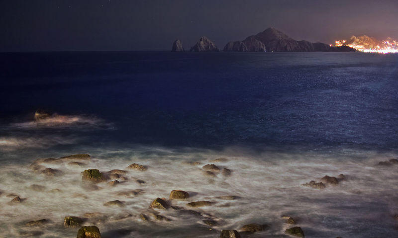 BAY BY NIGHT Bay Area Beauty In Nature Cabo Cabo Rock Arch Csl Illuminated Long Exposure Motion Nature Night No People Outdoors Rock - Object Scenics Sea Sky Water