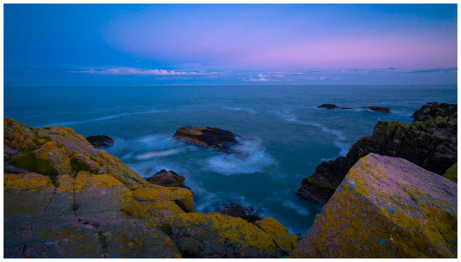 Cruden Bay Pink Rock Formation Scotland Tranquility Beauty In Nature Blue Idyllic Long Exposure Nature Night No People Scenics Sea Tranquil Scene Wave