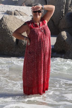Cape Town, South Africa Clifton Beach Dress Beautiful Woman Day Front View Looking At Camera One Person Outdoors Portrait Real People Red Rocks Sea Standing Water Young Adult Young Women