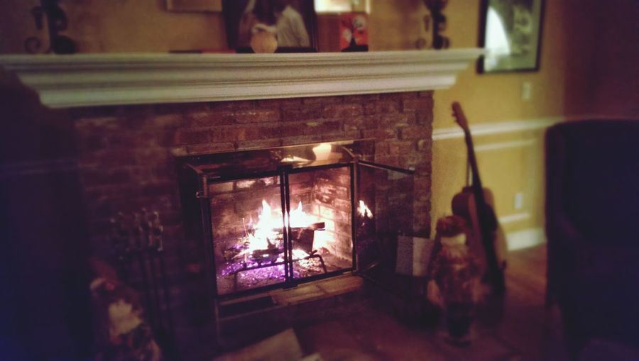 Interior Views fireplace, guitar, flame, Selective Focus home, family