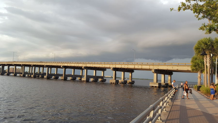 Manatee River bridge with storm clouds Manatee River Bridge Stormy Weather Storm Clouds Riverwalk Pokemon Hunting Bradenton FL Florida Life Family Time