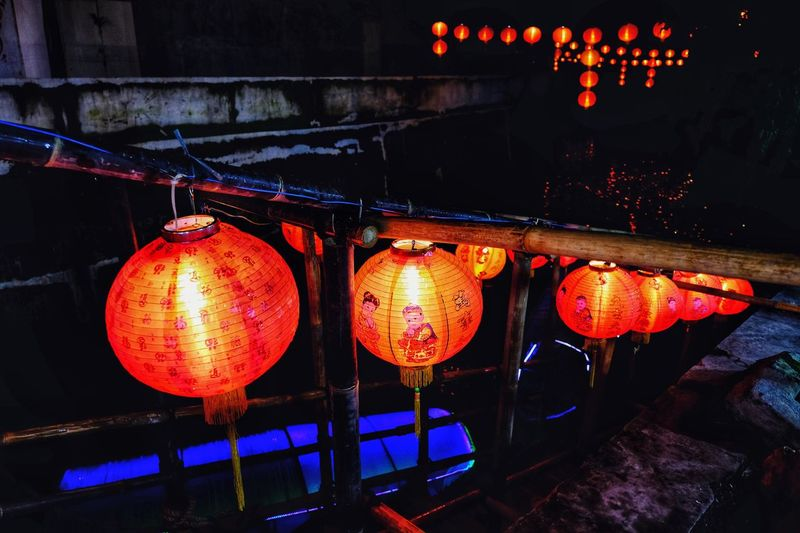 Lantern and river Illuminated Lighting Equipment No People Decoration Hanging Lantern Night Chinese Lantern Glowing Orange Color Architecture Indoors  Low Angle View Chinese New Year Built Structure Electric Light Light Festival Chinese Lantern Festival