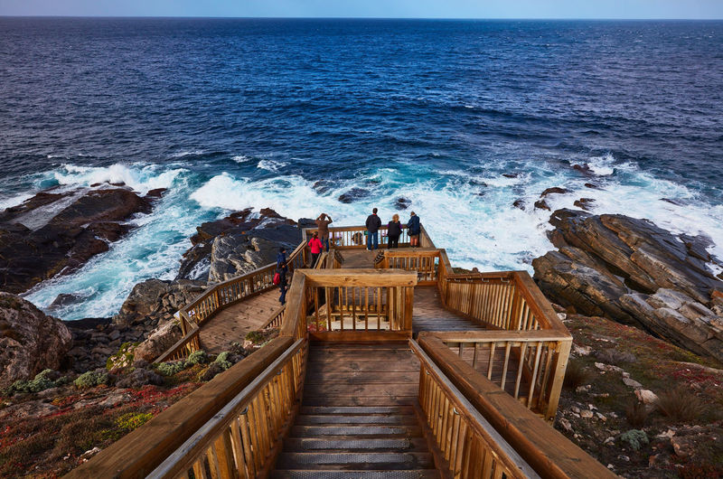 Water Sea Railing High Angle View Staircase Nature Beauty In Nature People Architecture Men Scenics - Nature Lifestyles Real People Standing Women Day Horizon Over Water Group Of People Wave Outdoors Looking At View Australia Kangaroo Island