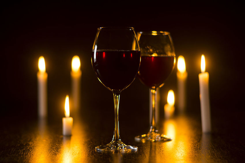 Alcohol Burning Candle Close-up Day Flame Illuminated Indoors  No People Red Red Wine Wine Wineglass