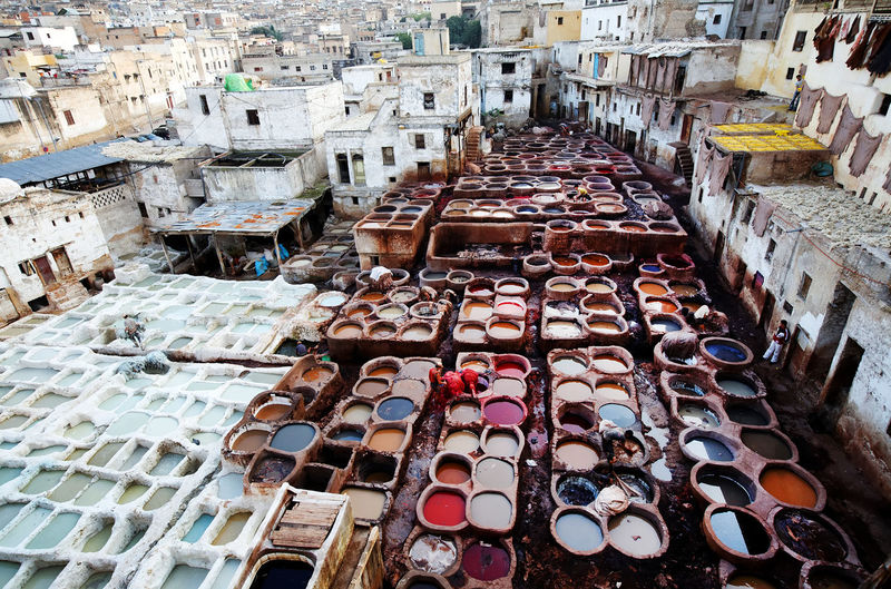 High angle view of tanneries in city