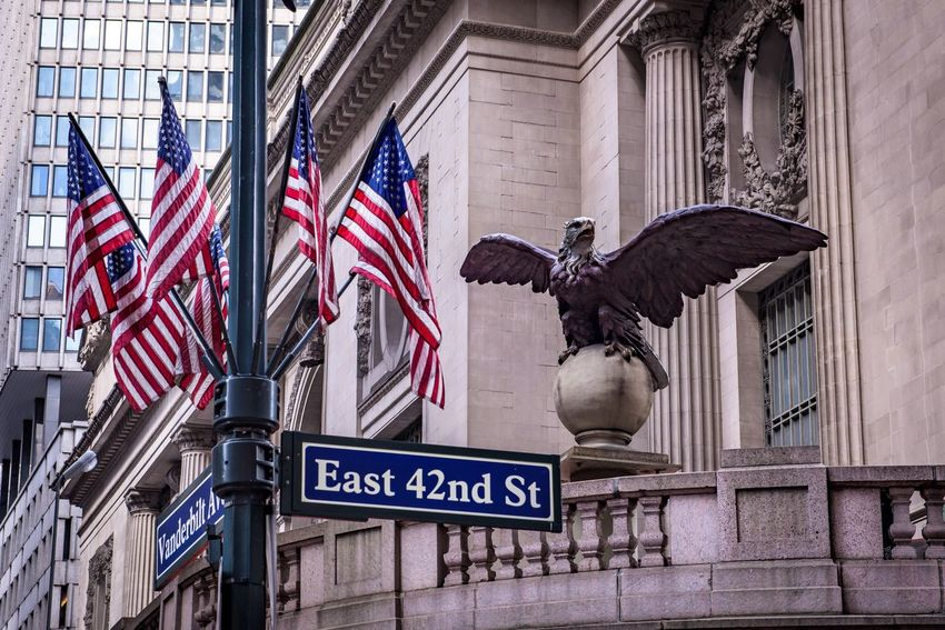 Flag Architecture Patriotism Building Exterior Built Structure Travel Destinations Travel Cultures No People National Icon Sculpture Outdoors Day New York New York City Manhattan Grand Central Station EyeEmNewHere