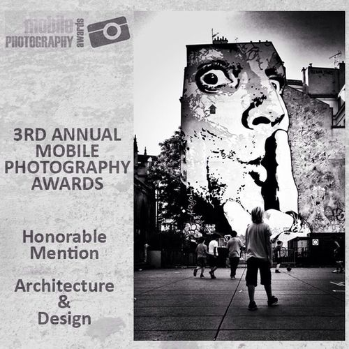 WoooHoo this week is just getting better and better another honourable mention for me Today the winners of the Architecture and Design category was announced in the 2013 Mobile Photo Awards and I am delighted that another of my photos has achieved a honourable mention in this group. Thank you to all the judges and to the MPA and congratulations to winners and other honourable mentions http://mobilephotoawards.com/2013-mobile-photography-awards-architecturedesign-category-winners/ Shootermag Blackandwhite Streetphoto_bw Streetart