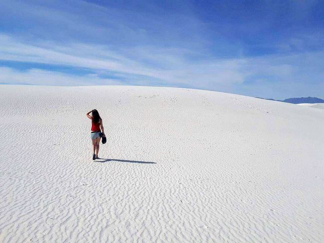 New Mexico White Sands Desert Beauty Desert Desert Landscape No People Walking Alone... Walking On The Beach Loneliness Lonley Planet Lonley Girl Lonley Sand Dune Landscape One Person Nature Beauty In Nature Outdoors Wanderlust USA